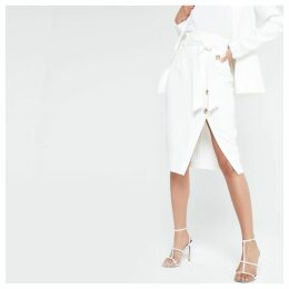 Womens White tie waist pencil skirt