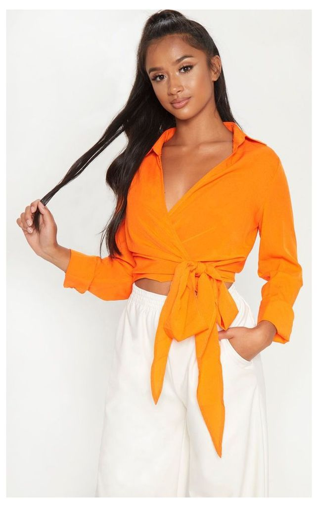 Petite Orange Tie Waist Blouse, Orange