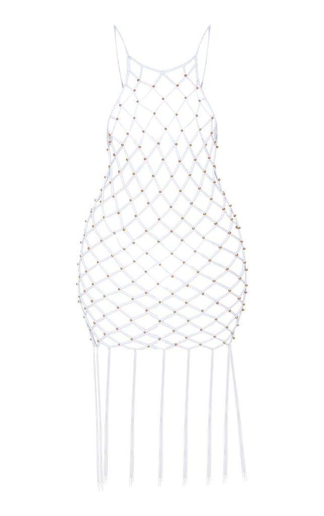 White Beaded Knitted Fringe Hem Dress, White