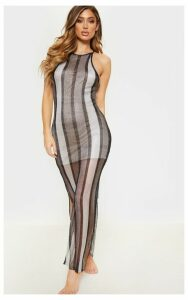 Silver Stripe Detail Knitted Maxi Dress, Grey