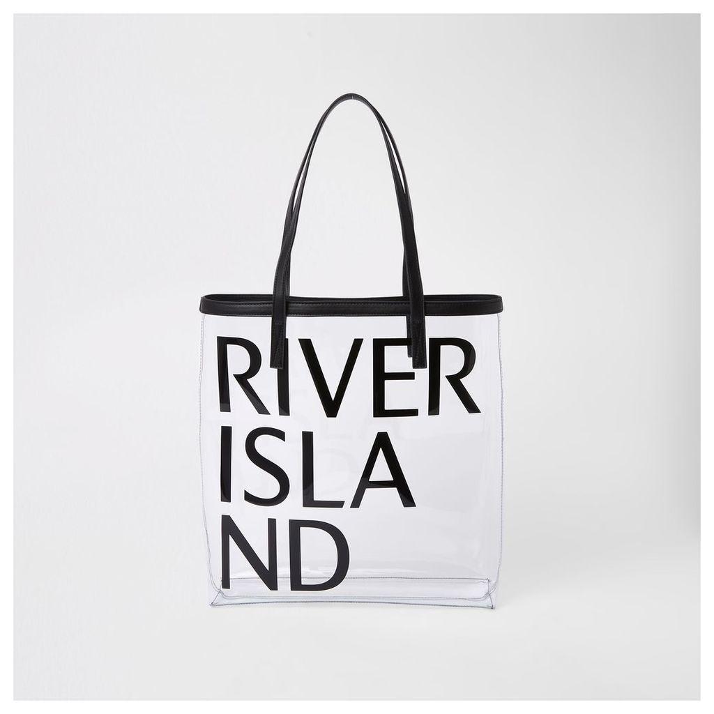 Womens Black perspex beach bag