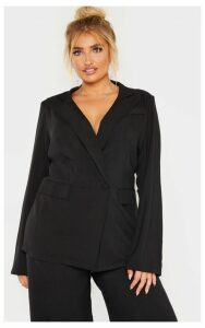 Plus Black Pocket Detail Button Blazer, Black