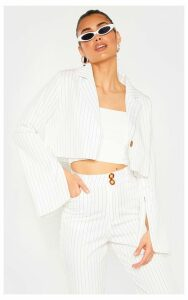 Cream Pinstripe Cropped Blazer, White