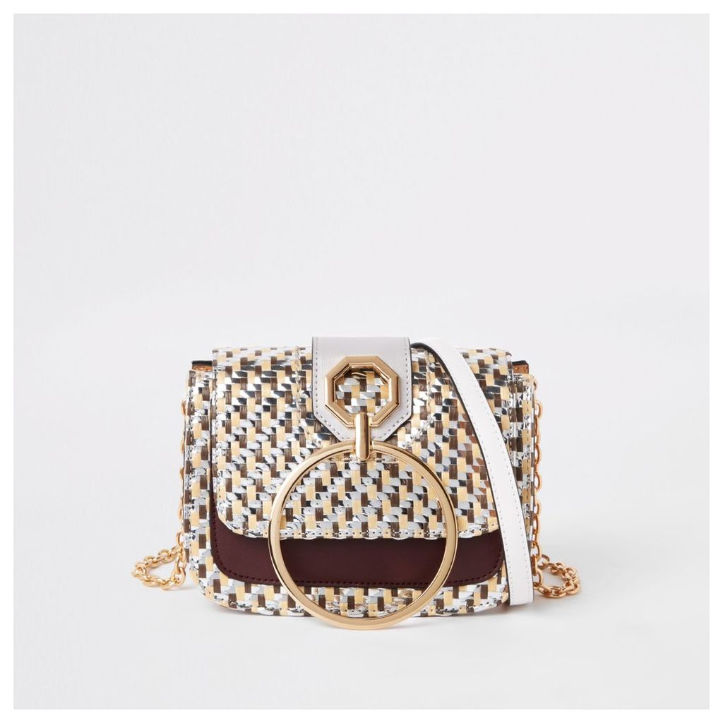 Womens Gold woven ring front cross body bag