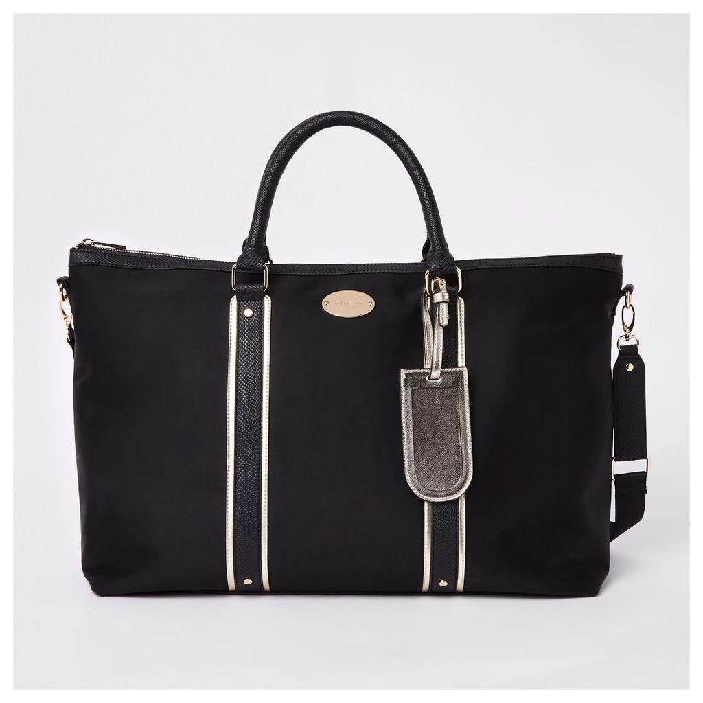 Womens Black mixed panel weekend bag