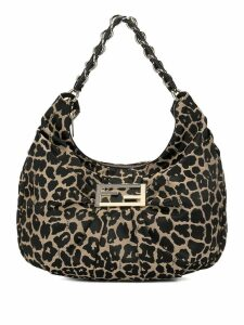 Fendi Pre-Owned leopard print small hobo bag - Brown