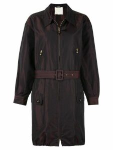 Chanel Pre-Owned belted zip-up coat - Brown