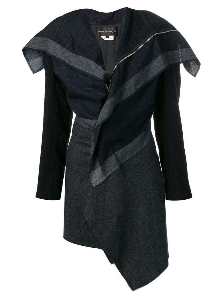 Comme Des Garçons Vintage 2000's stripe coat - Blue