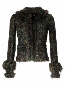 Chanel Pre-Owned fringed tweed jacket - Green