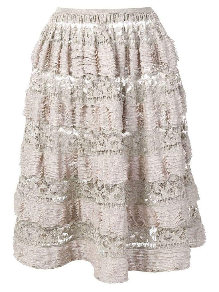 Alaïa Pre-Owned 2000's layered ruffled skirt - Neutrals