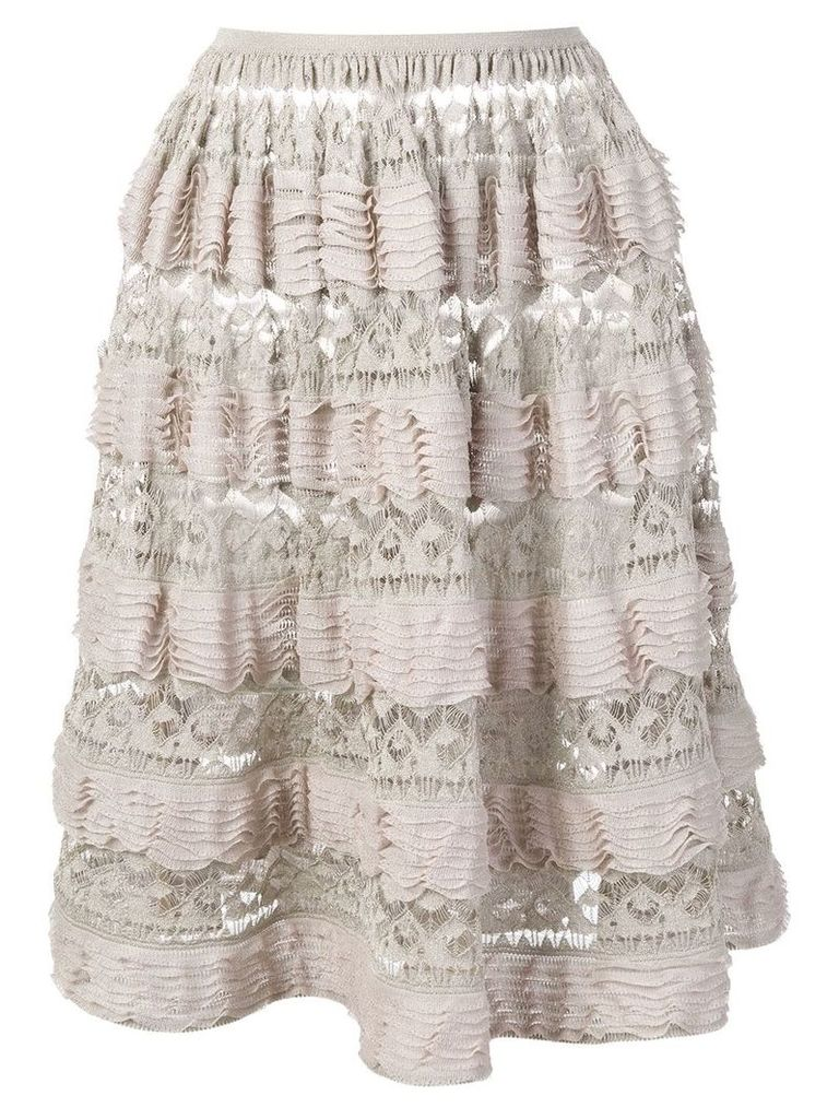 Alaïa Vintage 2000's layered ruffled skirt - Neutrals