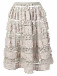 Alaïa Pre-Owned 2000's layered ruffled skirt - NEUTRALS