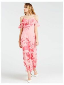 Guess Floral Print Dress With Frill