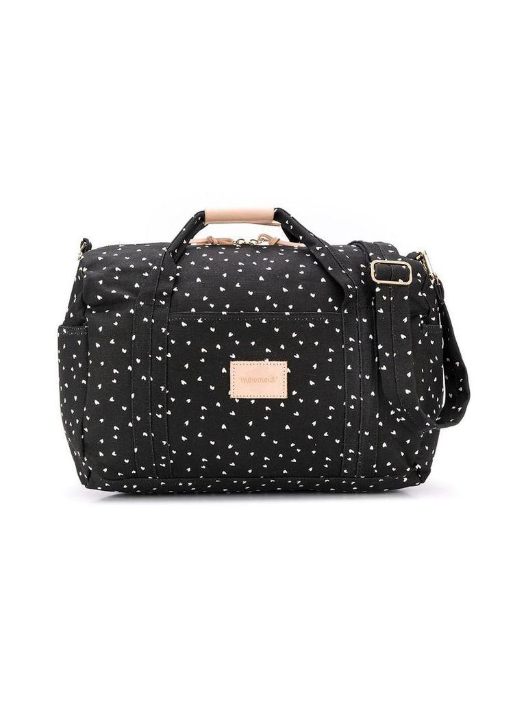 Moumout heart print changing bag - Black