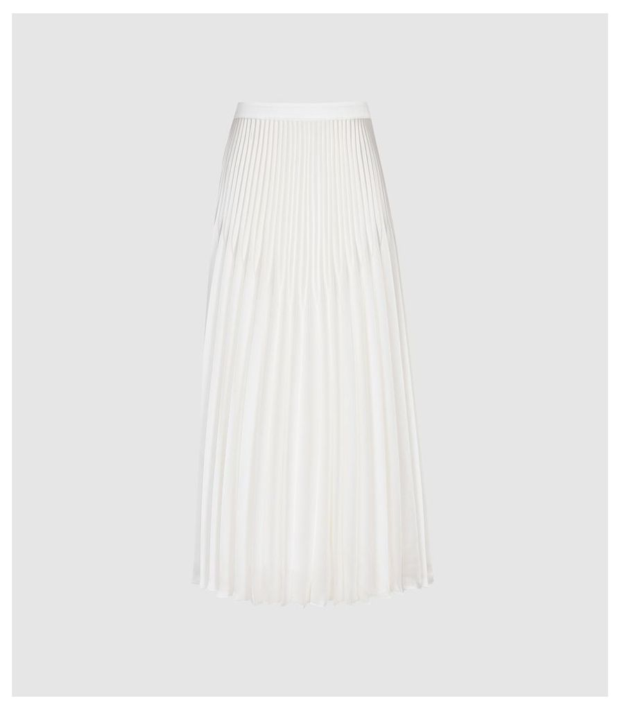 Reiss Dora - Pleated Midi Skirt in White, Womens, Size 14