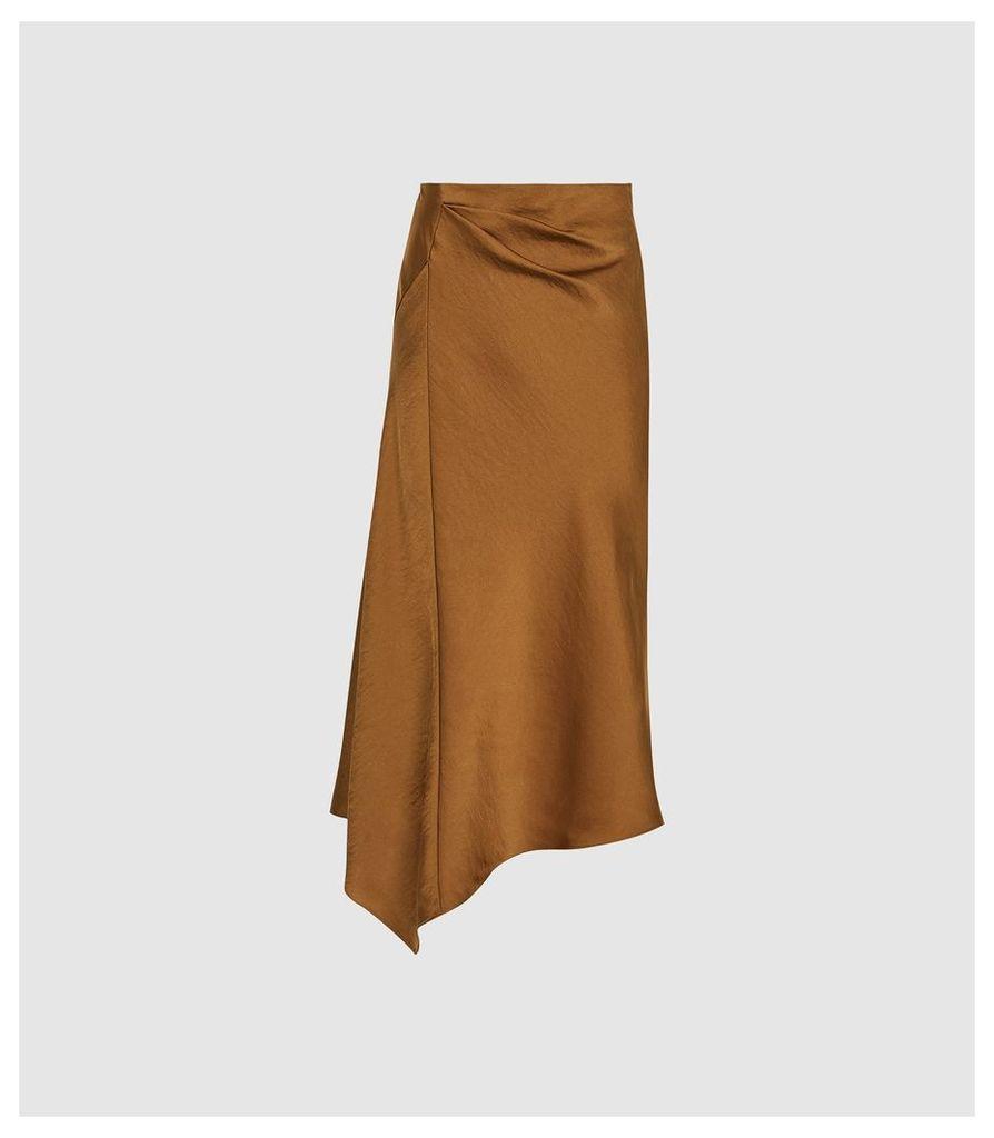 Reiss Aspen - Satin Slip Skirt in Cinnamon, Womens, Size 14