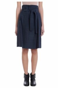 Golden Goose High Waist Blue Viscosa Skirt
