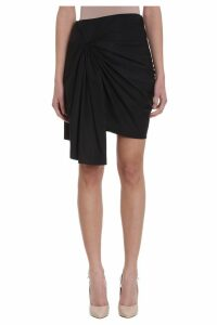Givenchy Asymmetric Draped Black Cotton Skirt