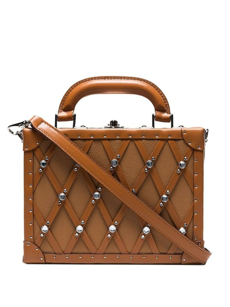 Area Dion studded box bag - Brown