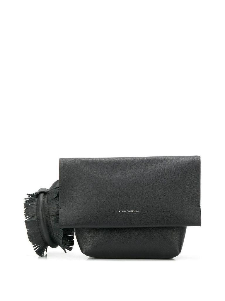 Elena Ghisellini fringed clutch bag - Black
