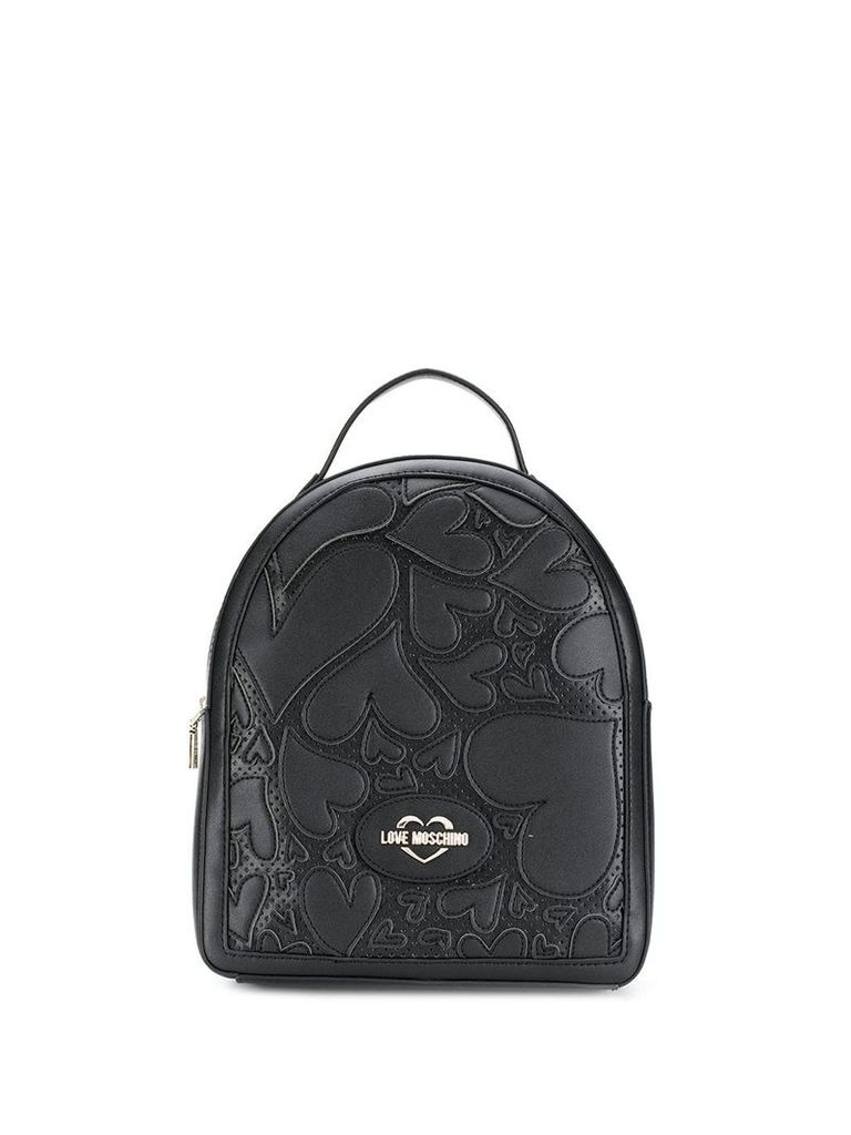 Love Moschino heart appliqué backpack - Black