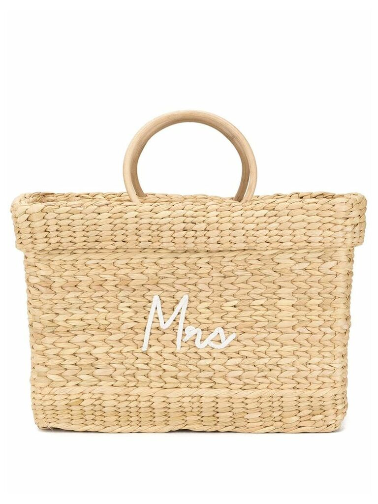 Poolside embroidered woven tote bag - Brown