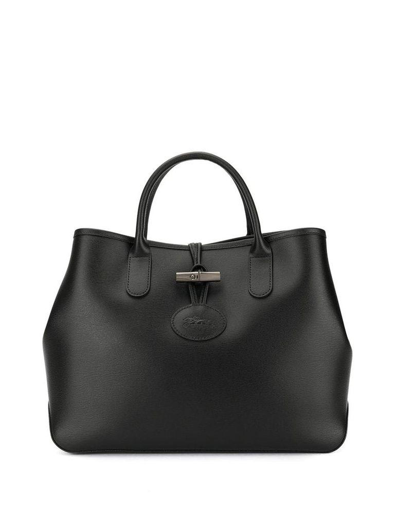 Longchamp logo embossed tote bag - Black
