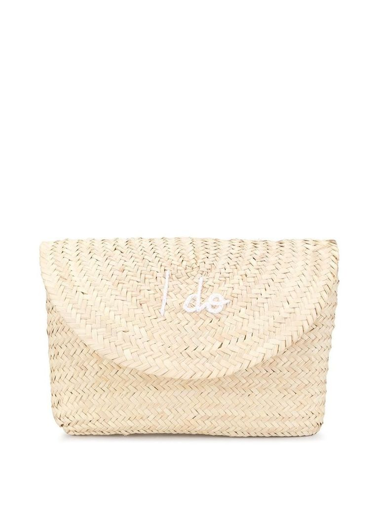 Poolside I Do embroidered clutch bag - Brown