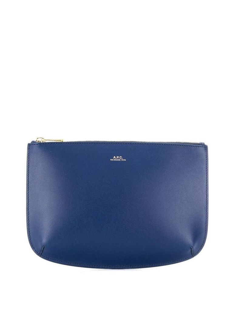 A.P.C. printed logo clutch bag - Blue