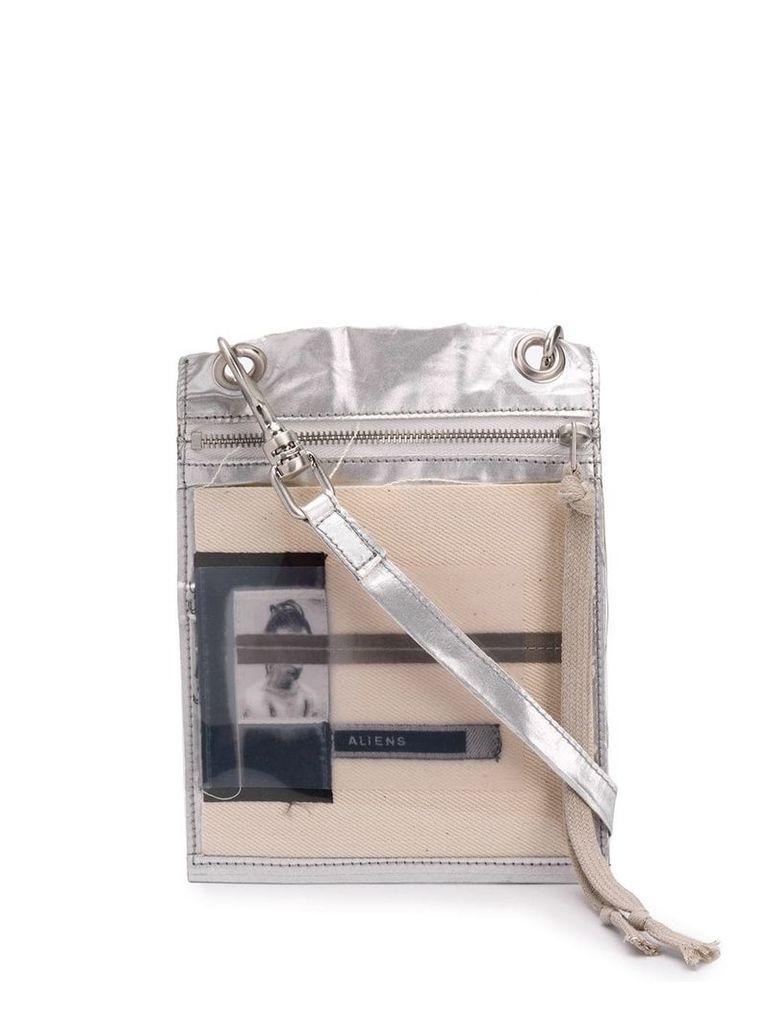 Rick Owens DRKSHDW flat cross body bag - Silver