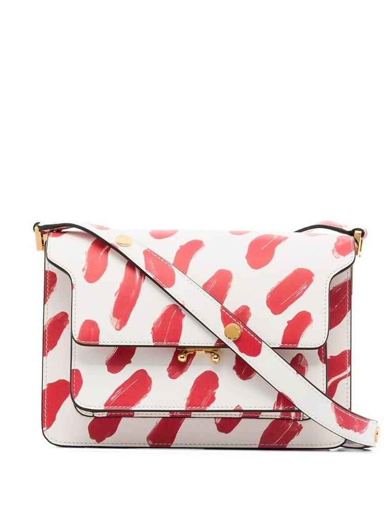 Marni paint print medium Trunk bag - White