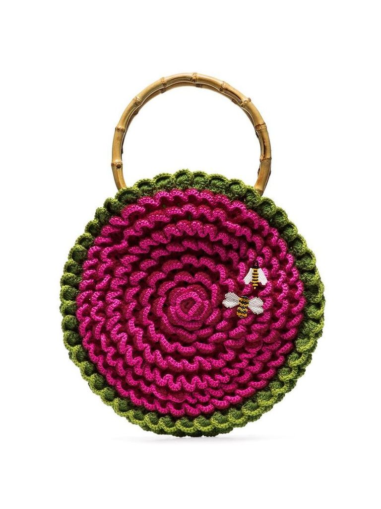 My Beachy Side knitted bee embroidered bag - Pink