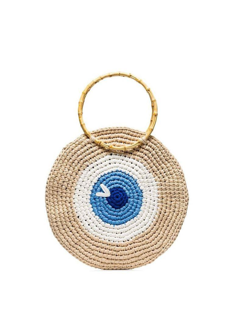 My Beachy Side eye woven tote bag - Multicoloured