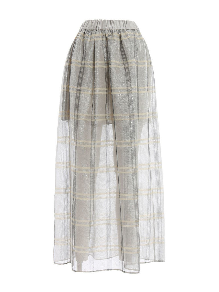 Emporio Armani Sequined Check Full Skirt