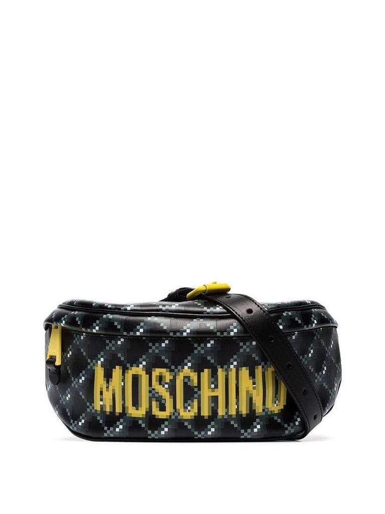 Moschino blurred logo print belt bag - Black