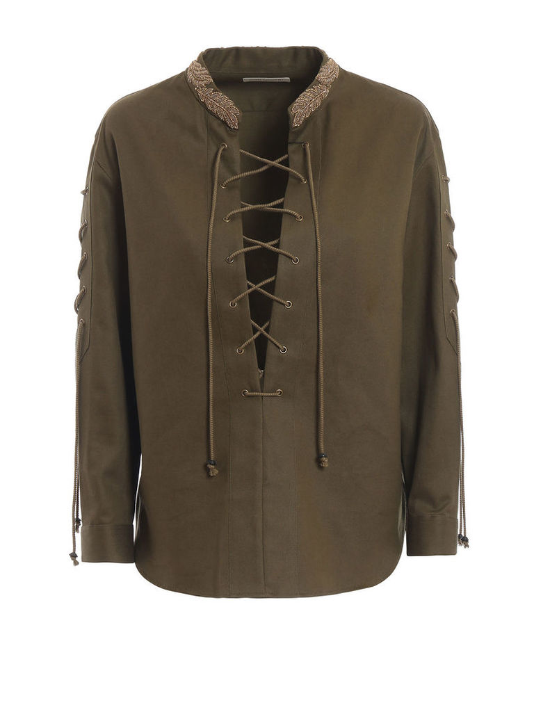 Saint Laurent Embroidered Lace-up Shirt