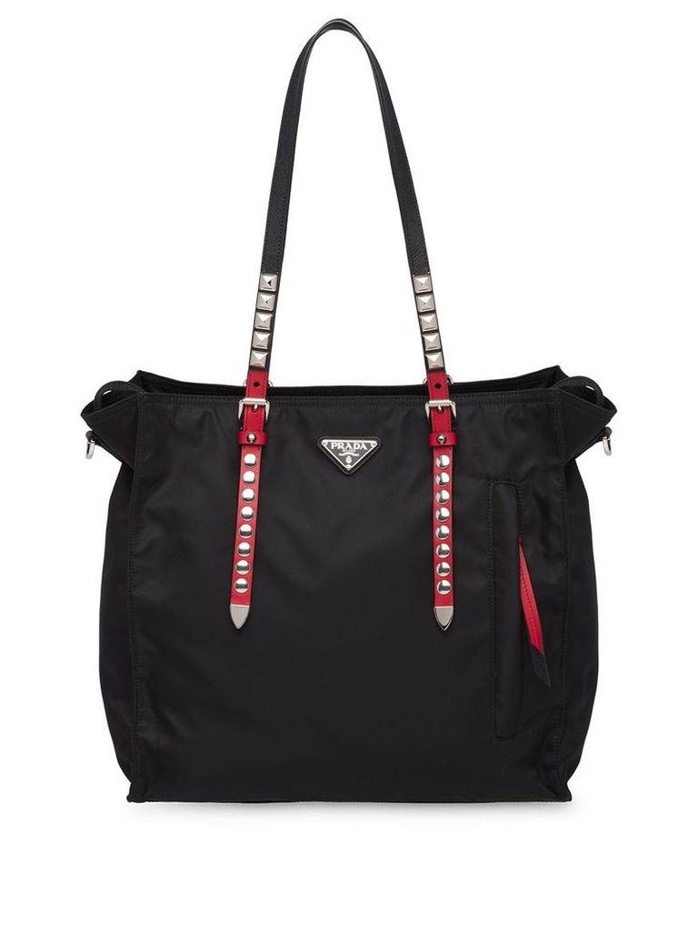 Prada nylon studded tote bag - Black