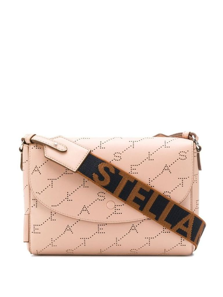 Stella McCartney perforated logo shoulder bag - Pink