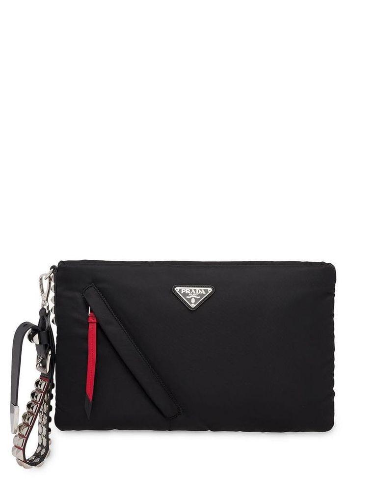 Prada logo clutch bag - Black