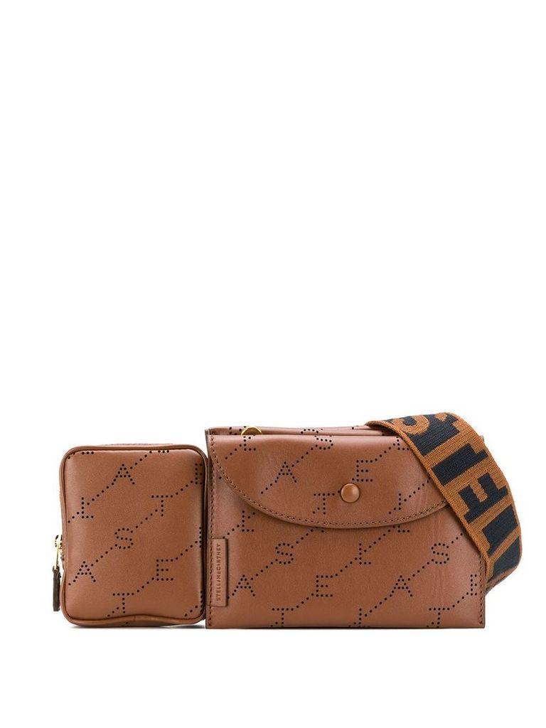 Stella McCartney perforated logo belt bag - Brown