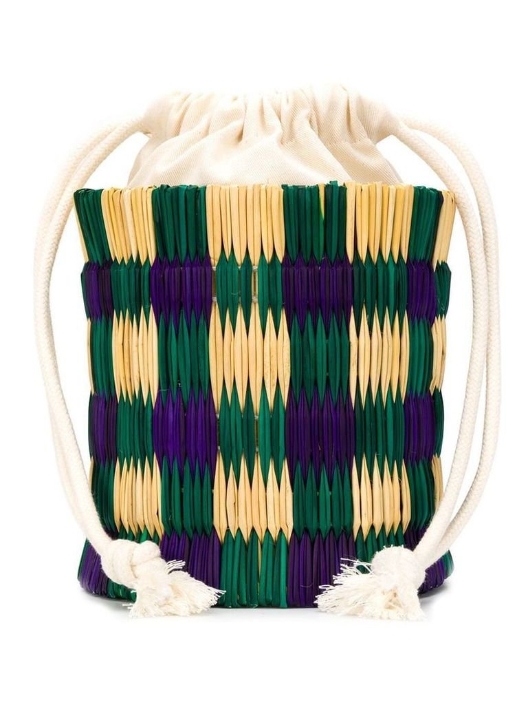 Reality Studio straw-structured bucket bag - Green