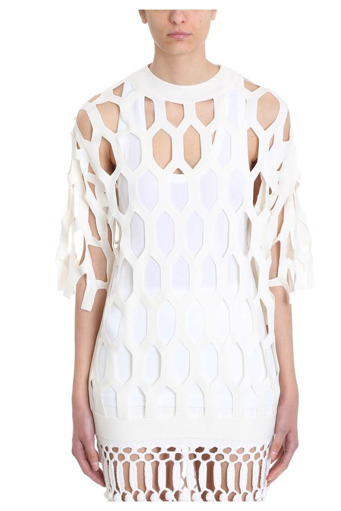 Sonia Rykiel Cut Out Beige Cotton Sweater