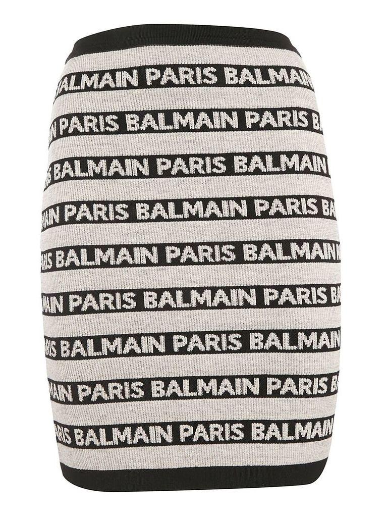 Balmain Knitted Logo Skirt