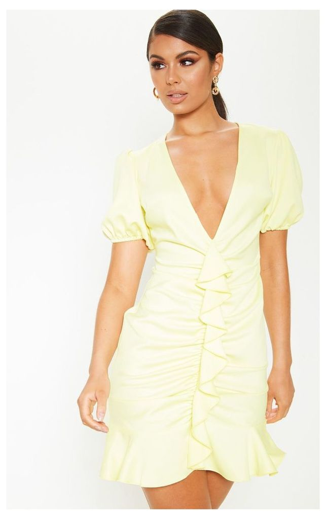 Pastel Lemon Satin Puff Sleeve Frill Bodycon Dress, Lemon