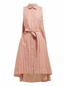 Palmer//harding - Sedona Striped Cotton Blend Shirtdress - Womens - Red Stripe