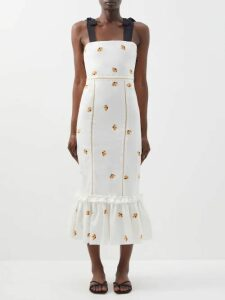 Emilia Wickstead - Gaia Sailboat Print Poplin Dress - Womens - Pink Print