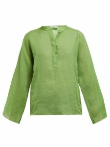 Three Graces London - Angelique Ramie Poplin Blouse - Womens - Green