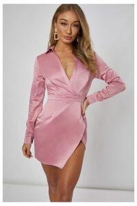 Pink Dresses - Anafaa Pink Split Front Mini Dress