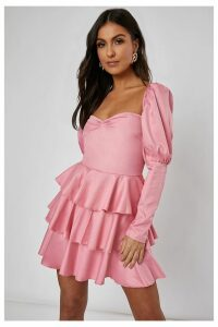 Pink Dresses - Ebbah Rose Pink Puff Sleeve Tiered Mini Dress
