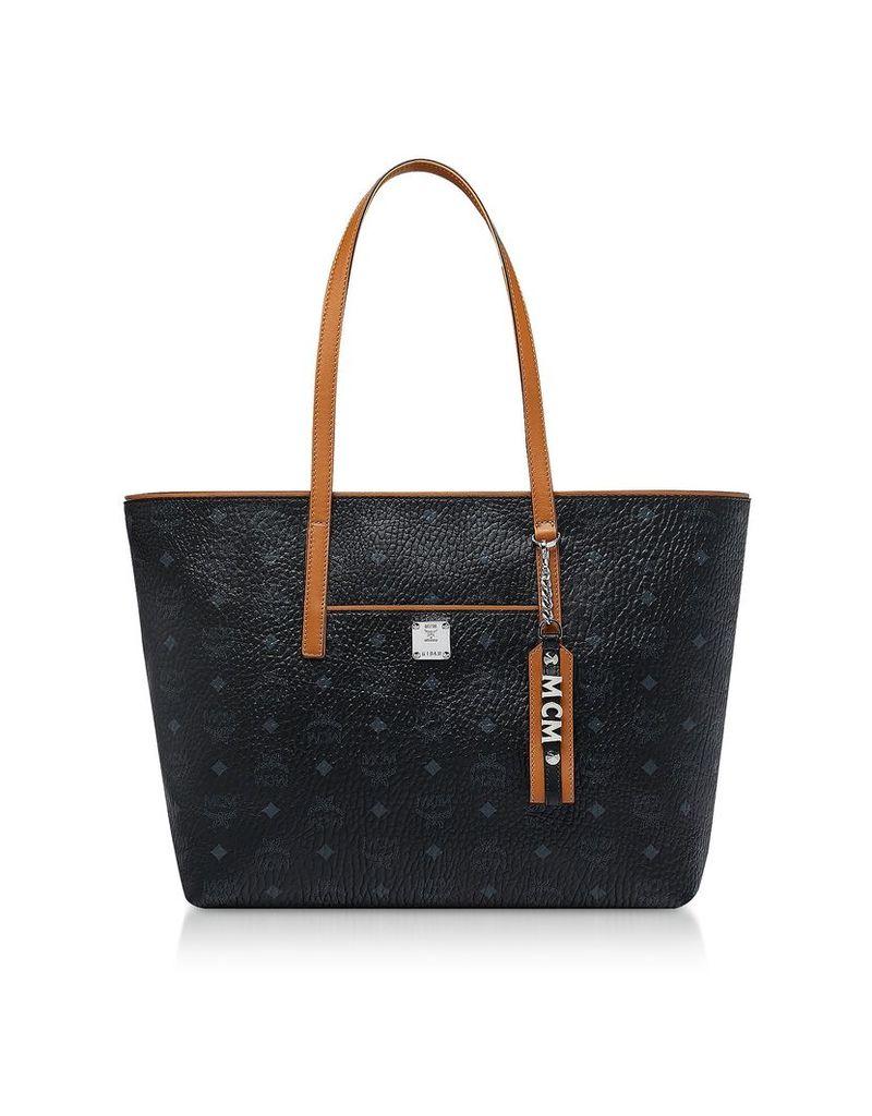 Mcm Black Visetos Anya Top Zip Shopping Bag